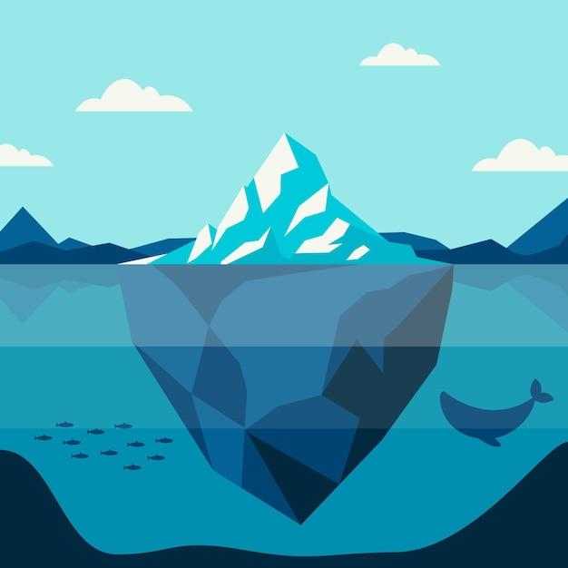 Ilustracja Koncepcja Góry Lodowej Darmowych Wektorów