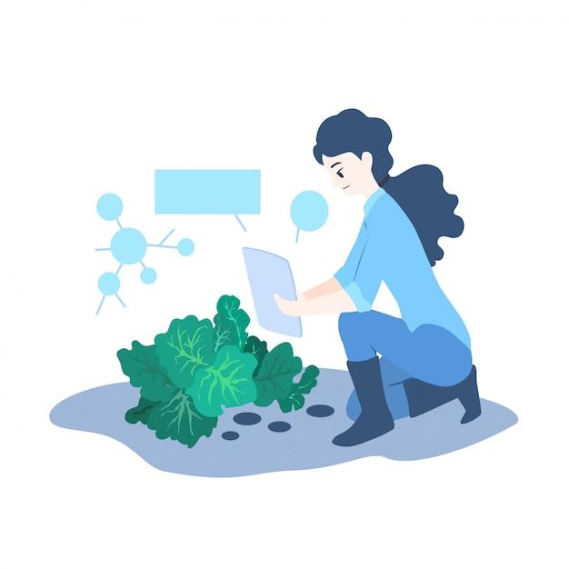 Ilustracja koncepcja inteligentnego rolnika Premium Wektorów