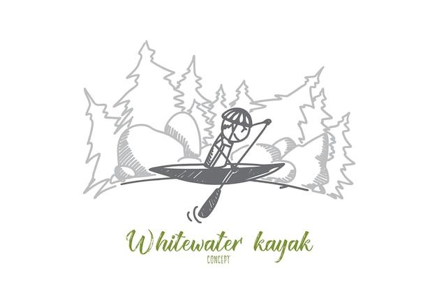 Ilustracja Koncepcja Kajak Whitewater Premium Wektorów