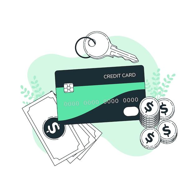 Ilustracja koncepcja karty kredytowej Darmowych Wektorów