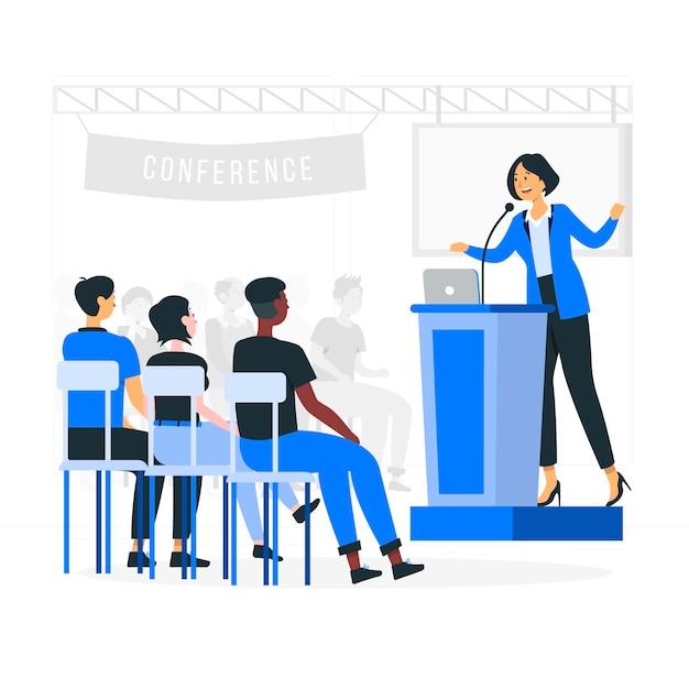 Ilustracja Koncepcja Konferencji Darmowych Wektorów