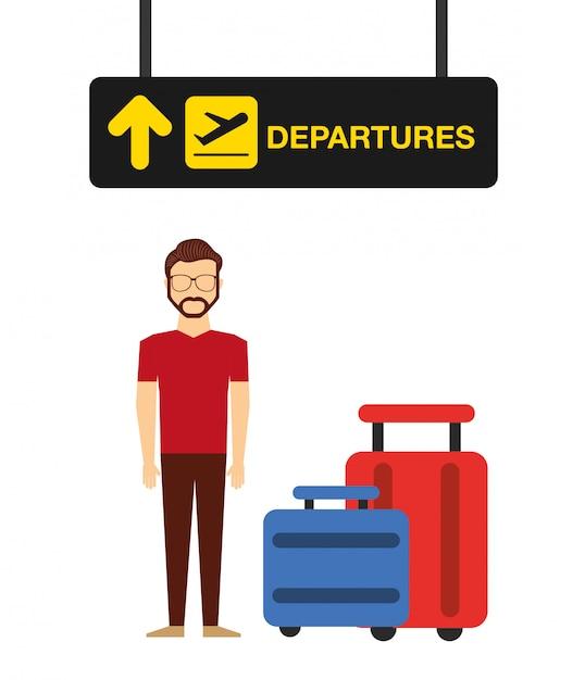 Ilustracja koncepcja lotniska, człowiek w terminalu odlotów lotniska Darmowych Wektorów