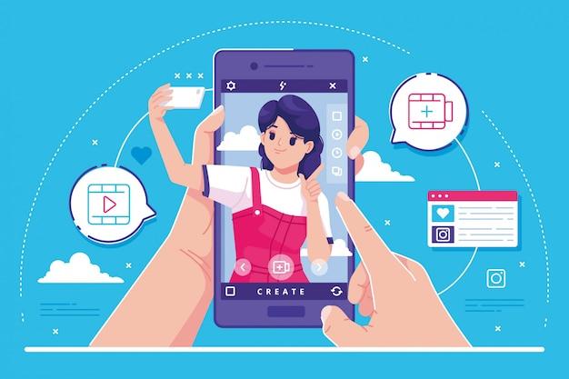 Ilustracja Koncepcja Mediów Społecznościowych Premium Wektorów