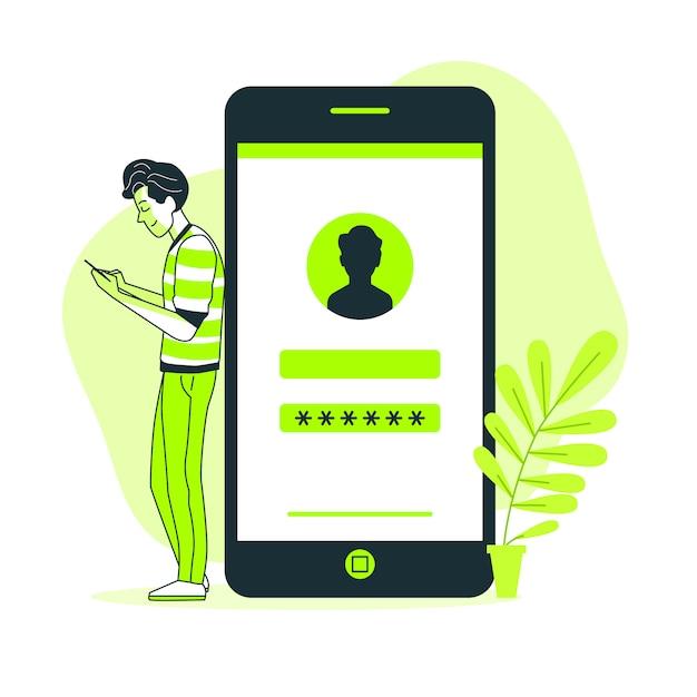 Ilustracja koncepcja mobilnego logowania Darmowych Wektorów