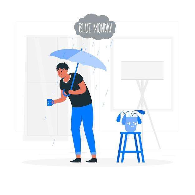 Ilustracja Koncepcja Niebieski Poniedziałek Darmowych Wektorów