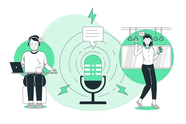 Ilustracja Koncepcja Odbiorców Podcastów Darmowych Wektorów