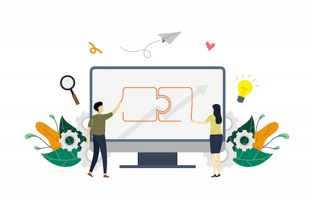 Ilustracja koncepcja partnerstwa biznesowego Premium Wektorów
