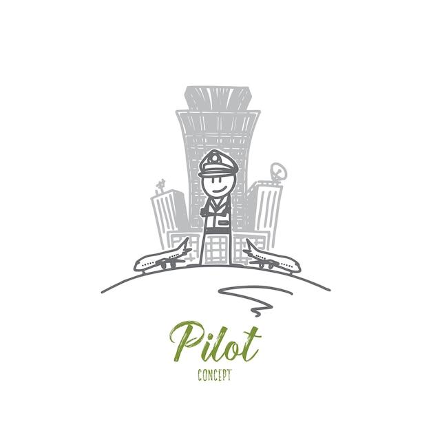 Ilustracja Koncepcja Pilota Premium Wektorów
