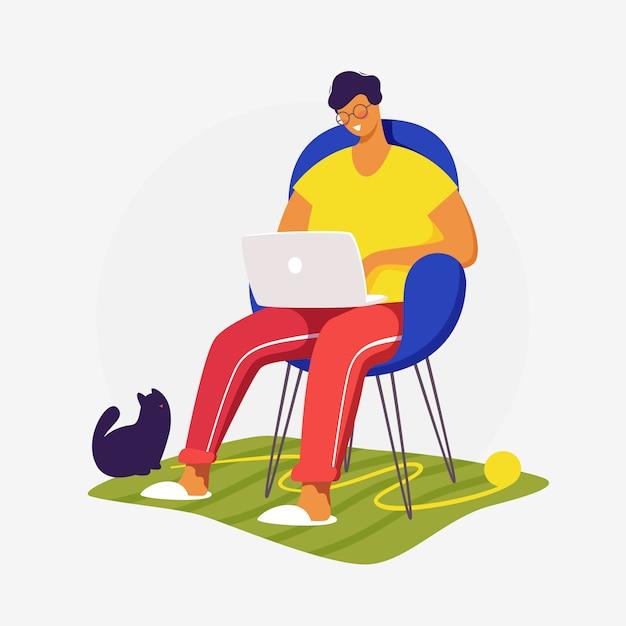 Ilustracja Koncepcja Płaski. Freelancer Pracujący W Domu Z Kotem. Obraz Projektu Kreatywnej Strony Docelowej. Premium Wektorów