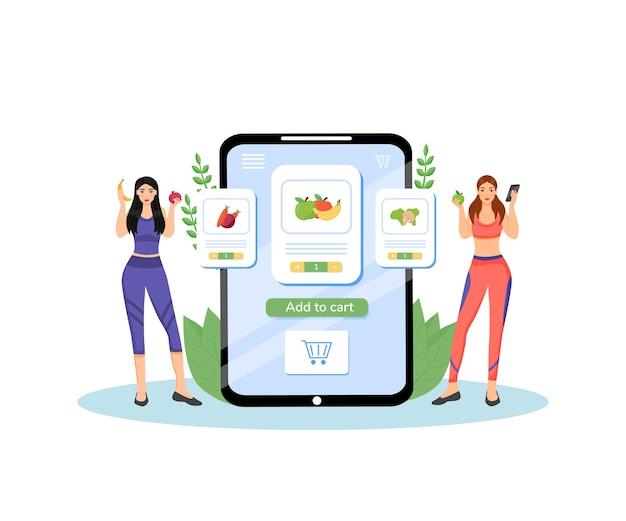 Ilustracja Koncepcja Płaski Plan Zdrowego Odżywiania. Kobiety Dietetyków, Dietetyków Postaci Z Kreskówek 2d Do Projektowania Stron Internetowych. Kreatywny Pomysł Na Dostawę świeżych Owoców I Warzyw Premium Wektorów