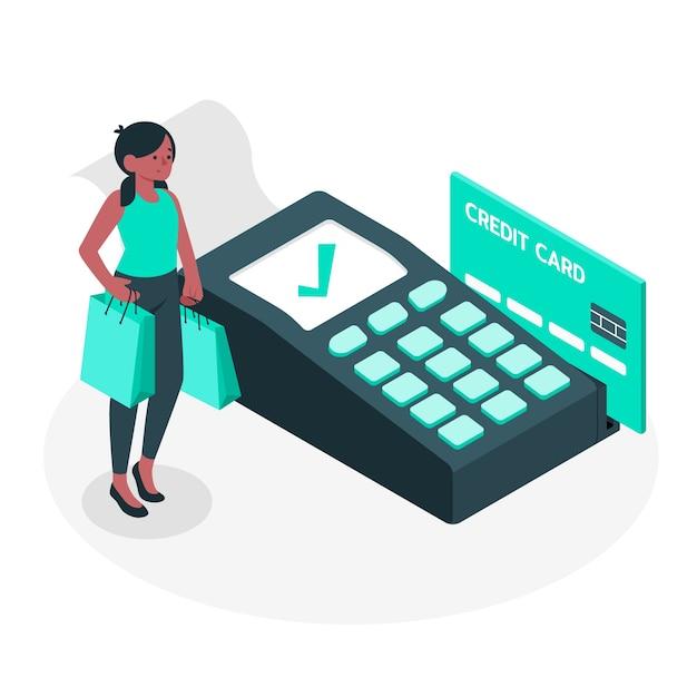 Ilustracja Koncepcja Płatności Kartą Kredytową Darmowych Wektorów