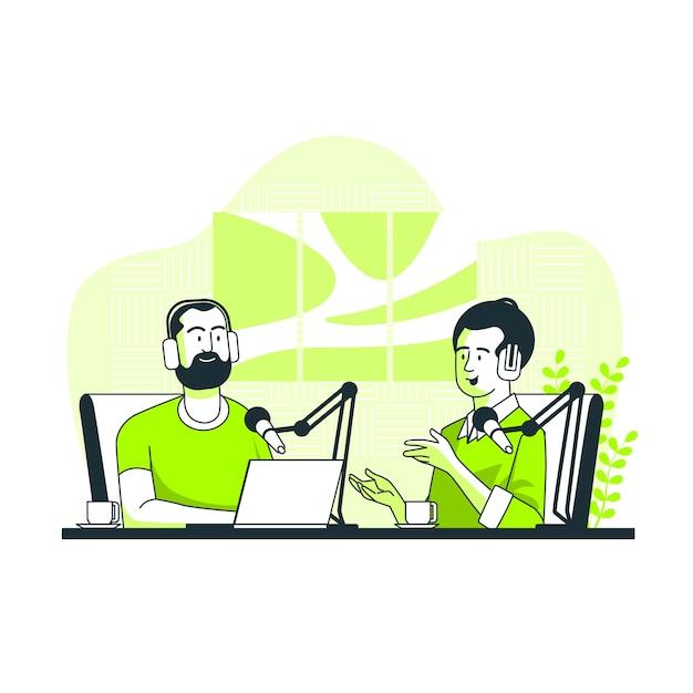 Ilustracja Koncepcja Podcastu Darmowych Wektorów
