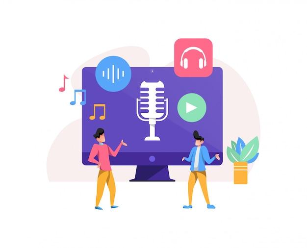 Ilustracja Koncepcja Podcastu Premium Wektorów