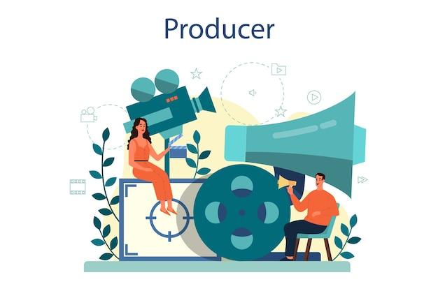 Ilustracja Koncepcja Producenta. Produkcja Filmowa I Muzyczna. Idea Kreatywnych Ludzi I Zawodu. Wyposażenie Studia. Premium Wektorów