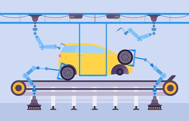 Ilustracja Koncepcja Produkcji Fabryki Samochodów. Konstrukcja Samochodowa Przy Użyciu Robotycznego Sprzętu Kreskówkowego Na Przenośniku. Premium Wektorów