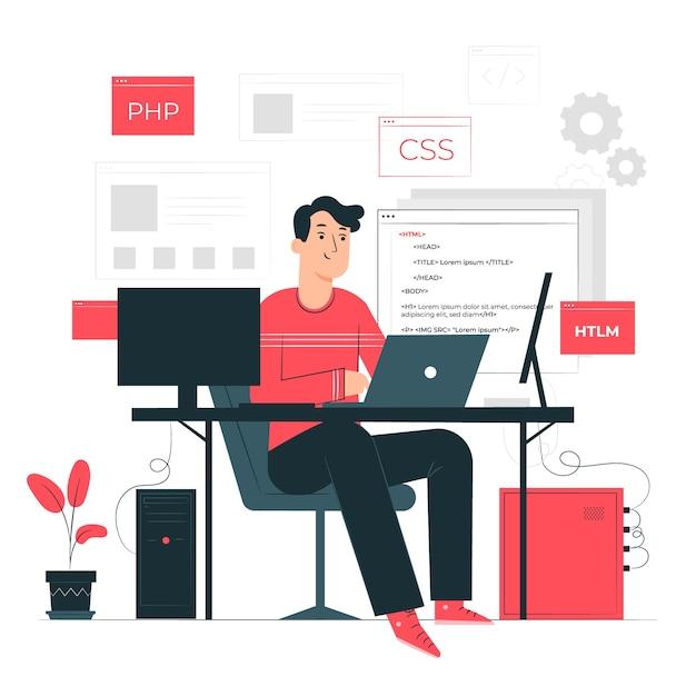 Ilustracja Koncepcja Programowania Darmowych Wektorów