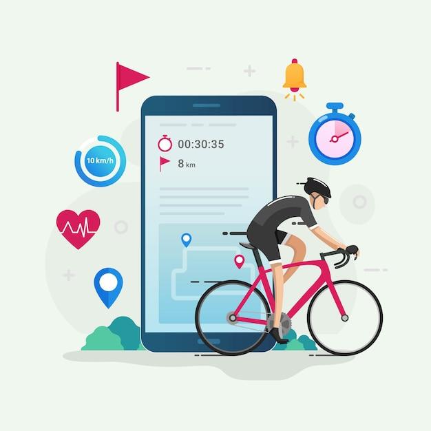 Ilustracja Koncepcja Projektowania Aplikacji Rowerowej Tracker Premium Wektorów