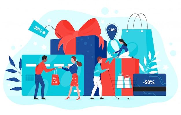 Ilustracja Koncepcja Promocji Karty Upominkowej. Kupujący Z Kreskówek Kupują Prezenty Z Czerwoną Wstążką W Sklepie, Korzystając Z Kuponu Upominkowego Na Zakupy, Kuponu Rabatowego, Certyfikatu Lojalnościowego Promo Na Białym Tle Premium Wektorów