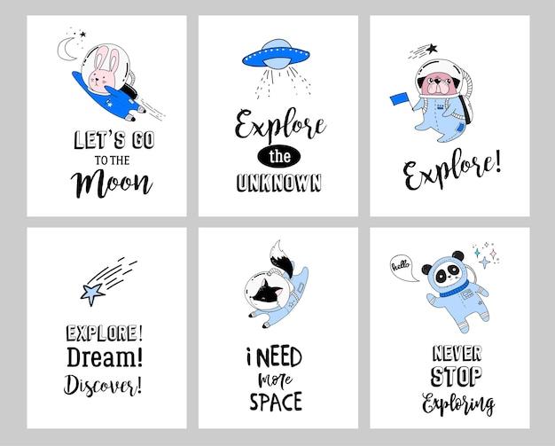 Ilustracja Koncepcja Przestrzeni Kosmicznej. Urocze Zwierzęta Astronauci W Hełmach Premium Wektorów