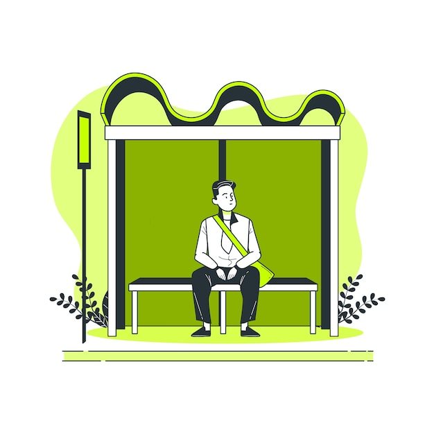 Ilustracja koncepcja przystanek autobusowy Darmowych Wektorów