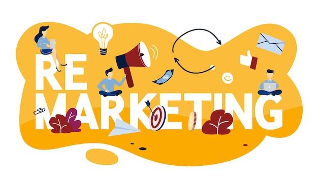 Ilustracja Koncepcja Remarketingu. Strategia Biznesowa Lub Kampania Na Rzecz Zwiększenia Sprzedaży. Ilustracja Premium Wektorów