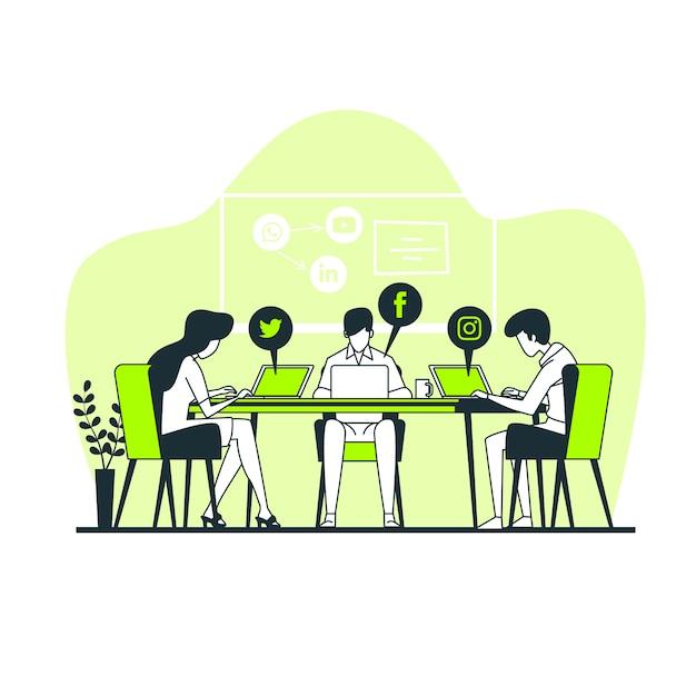 Ilustracja Koncepcja Sieci Społecznościowych Darmowych Wektorów