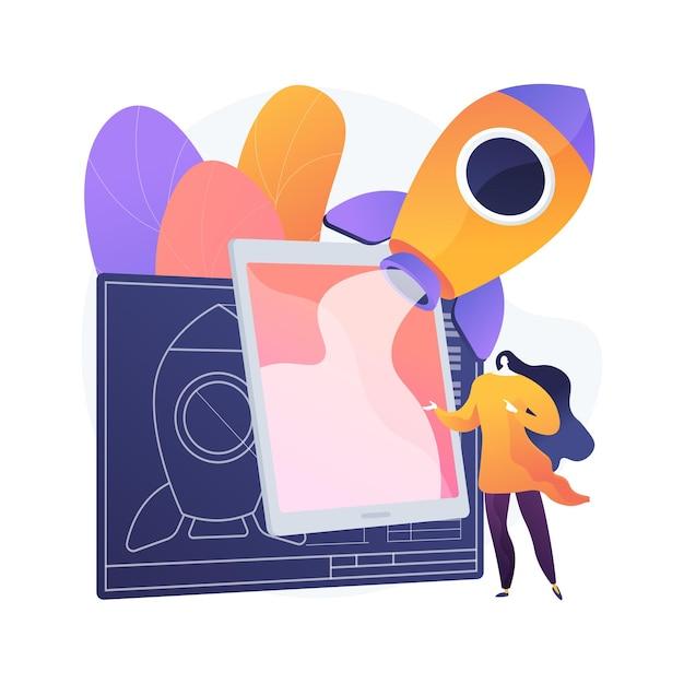 Ilustracja Koncepcja Streszczenie Książki Rzeczywistości Rozszerzonej. Model Edukacyjny, Treści Cyfrowe, Smartfon I Konsola Do Gier, Odtwarzanie Wideo, Interakcja Z Tekstem Darmowych Wektorów