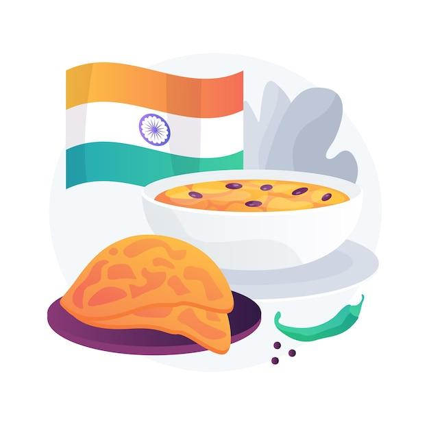 Ilustracja Koncepcja Streszczenie Kuchni Indyjskiej. Pikantne Indyjskie Jedzenie, Tradycyjna Kuchnia, Dostawa Do Restauracji, Orientalny Smak, Indyjski Sklep, Domowe Curry, Menu Wegetariańskie Darmowych Wektorów