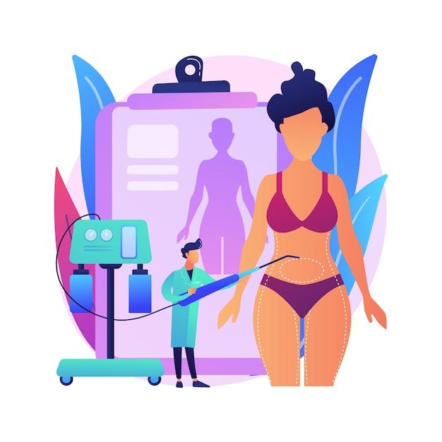 Ilustracja Koncepcja Streszczenie Liposukcja. Zabieg Lipo, Plastyka Usuwania Tłuszczu, Modelowanie Sylwetki, Standard Urody, Odchudzanie, Alternatywy Liposukcji Darmowych Wektorów