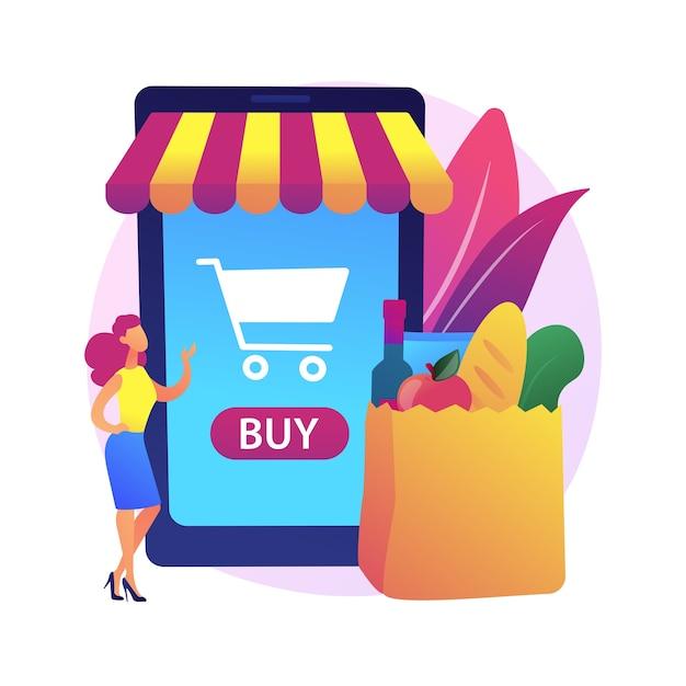 Ilustracja Koncepcja Streszczenie Supermarketu Cyfrowego. Zakup Cyfrowy, Technologia Informacyjna, Płatności Online, Sklep Spożywczy, Mobilna Aplikacja Detaliczna, Rabat Na Zakupy Darmowych Wektorów
