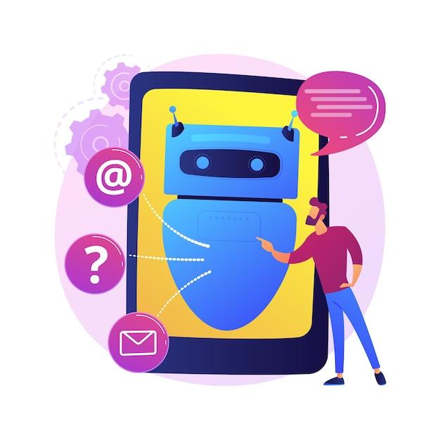 Ilustracja Koncepcja Streszczenie Sztucznej Inteligencji Chatbot. Sztuczna Inteligencja, Usługa Chatbota, Wsparcie Interaktywne, Uczenie Maszynowe, Przetwarzanie Języka Naturalnego. Darmowych Wektorów