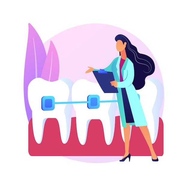 Ilustracja Koncepcja Streszczenie Usług Ortodontycznych. Oddział Kliniki Ortodontycznej, Stomatologia Rodzinna, Aparat Dentystyczny, Higiena Jamy Ustnej, Centrum Zębów, Usługi Stomatologiczne Abstrakcyjna Metafora. Darmowych Wektorów