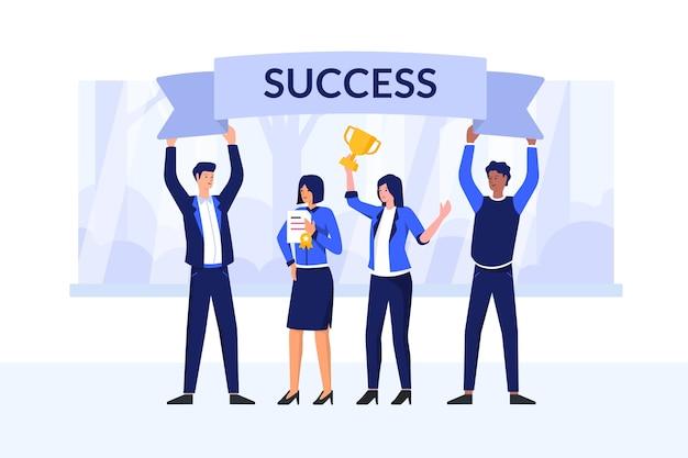 Ilustracja Koncepcja Sukcesu Premium Wektorów