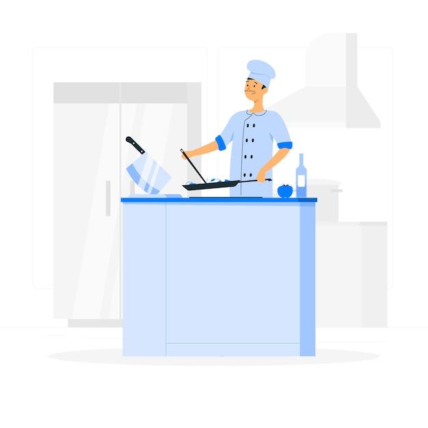 Ilustracja Koncepcja Szefa Kuchni Darmowych Wektorów