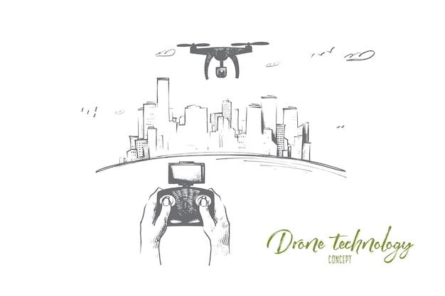 Ilustracja Koncepcja Technologii Drona Premium Wektorów