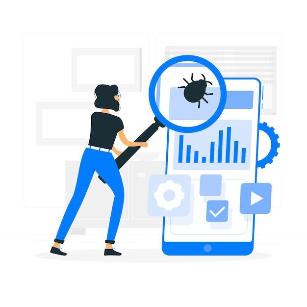 Ilustracja Koncepcja Testowania Mobilnego Darmowych Wektorów