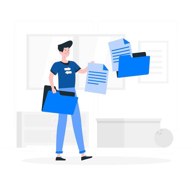 Ilustracja koncepcja transferu plików Darmowych Wektorów