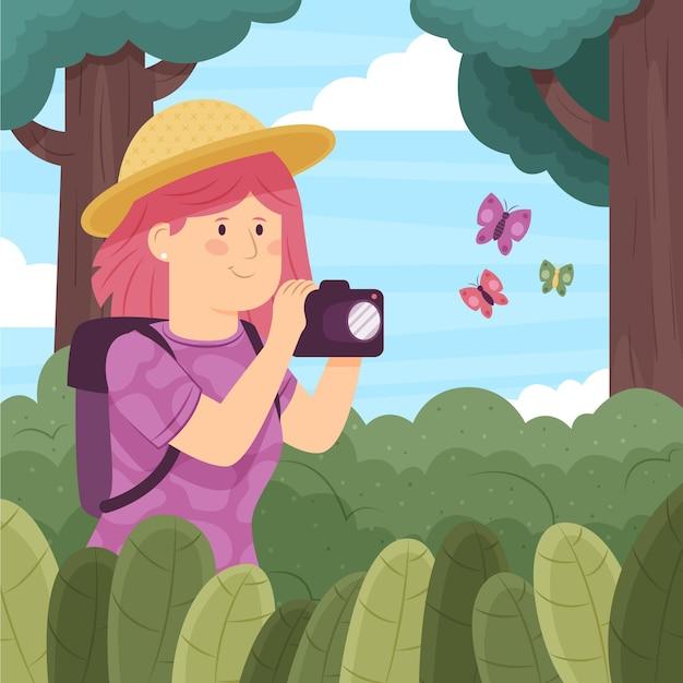 Ilustracja Koncepcja Turystyki Ekologicznej Darmowych Wektorów