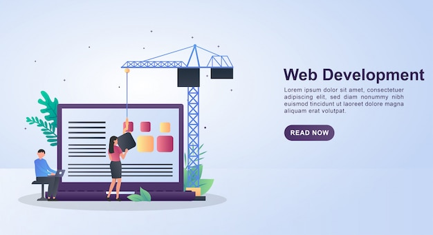 Ilustracja Koncepcja Tworzenia Stron Internetowych Z Osobami, Które Projektują Sieć. Premium Wektorów