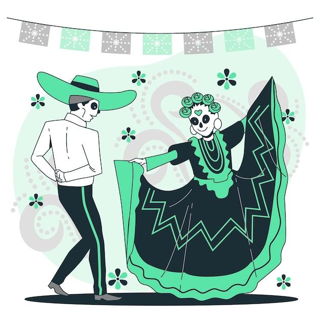 Ilustracja Koncepcja Uroczystości Dia De Muertos Darmowych Wektorów