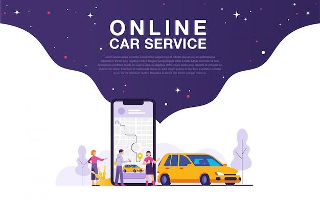 Ilustracja koncepcja usługi samochodu online Premium Wektorów