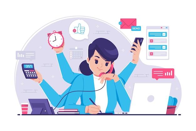 Ilustracja Koncepcja Wielozadaniowości Kobieta Premium Wektorów