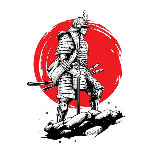 Ilustracja Koncepcja Wojownika Samuraja Premium Wektorów