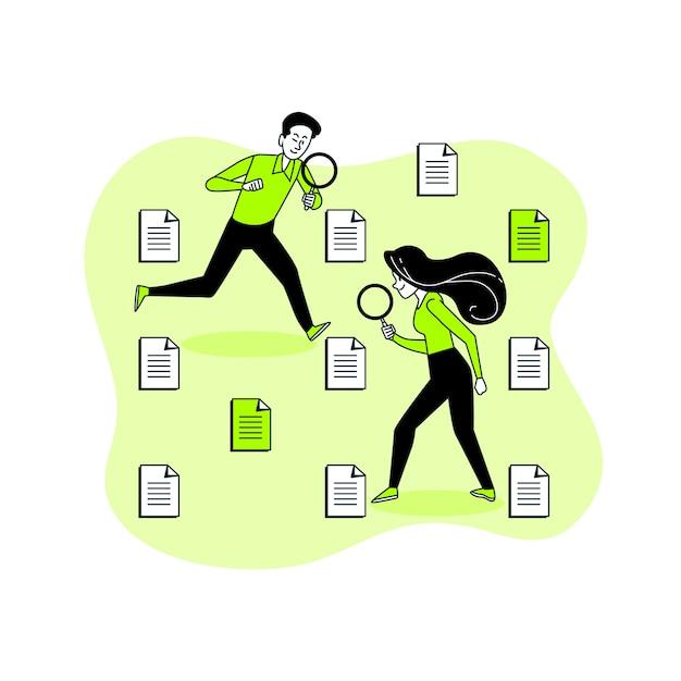 Ilustracja Koncepcja Wyszukiwania Plików Darmowych Wektorów