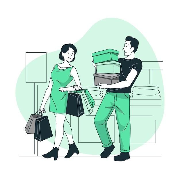 Ilustracja Koncepcja Zakupów (nie Online) Darmowych Wektorów