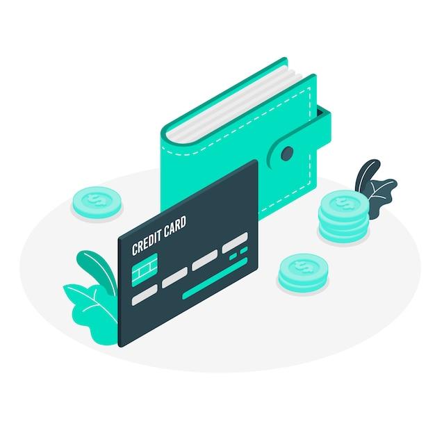 Ilustracja koncepcja zwykłej karty kredytowej Darmowych Wektorów