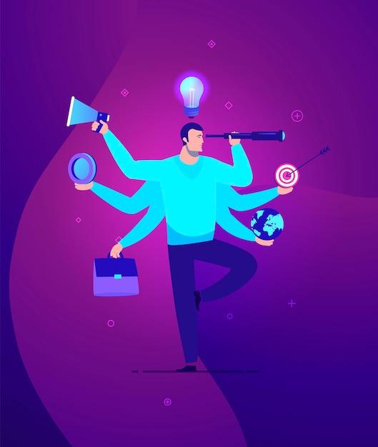Ilustracja Koncepcji Biznesowej Biznesmen Z Wielozadaniowości I Umiejętności Wielu - Nowoczesne Kolory. Premium Wektorów