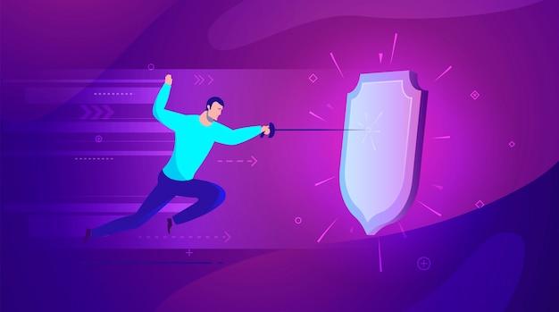 Ilustracja Koncepcji Biznesowej Dobra Ochrona Przez Tarczę Przed Atakiem - Nowoczesne Kolory. Premium Wektorów