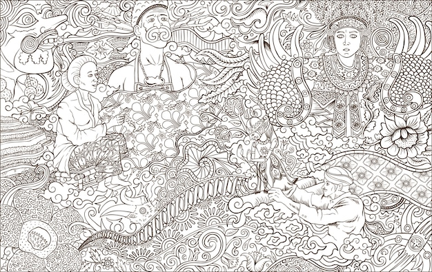 Ilustracja Kontur Kultury Indonezji Premium Wektorów