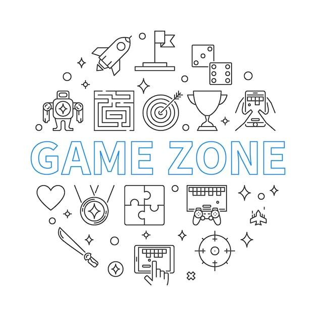 Ilustracja kontur okrągła strefa gry Premium Wektorów